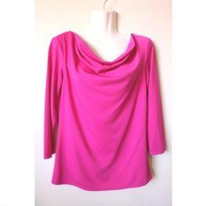 Natori Pink Solid Three Quarter Sleeve Blouse